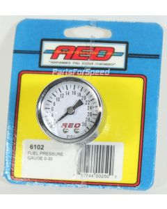 AED Holley 6102 0-30 psi Fuel Pressure Gauge White Face 1/8 inch NPT