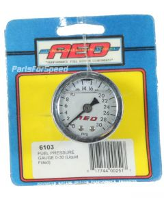 AED Holley 6103 0-30 psi Liquid Filled Fuel Pressure Gauge 1/8 inch NPT