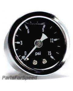 Liquid Filled Fuel Pressure Gauge 0-15 PSI Black Face