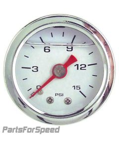 Liquid Filled Fuel Pressure Gauge 0-15 PSI White Face