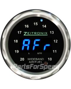 Zeitronix ZR-1 Air Fuel Ratio Gauge Wideband Silver Bezel Blue LED Digits