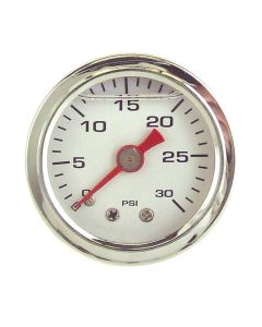 Liquid Filled Fuel Pressure Gauge 0-30 PSI White Face