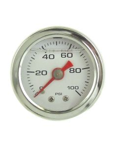 Liquid Filled Fuel Pressure Gauge 0-100 PSI White Face