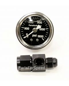 PartsForSpeed Nitrous Bottle 1500 PSI Pressure Gauge with -4AN Black Fitting