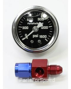 PartsForSpeed Nitrous Bottle 1500 PSI Pressure Gauge with -4AN Blue Red Fitting