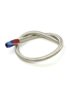 """Fuel Pump to Carburetor Fuel Line with Blue & Red -6AN hose end Stainless Steel Braided Hose 25"""" Long"""
