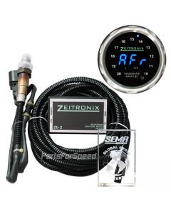 Zeitronix ZT-2 plus Black ZR-2 Multi Gauge Bundle with Silver bezel and Blue LED Digits